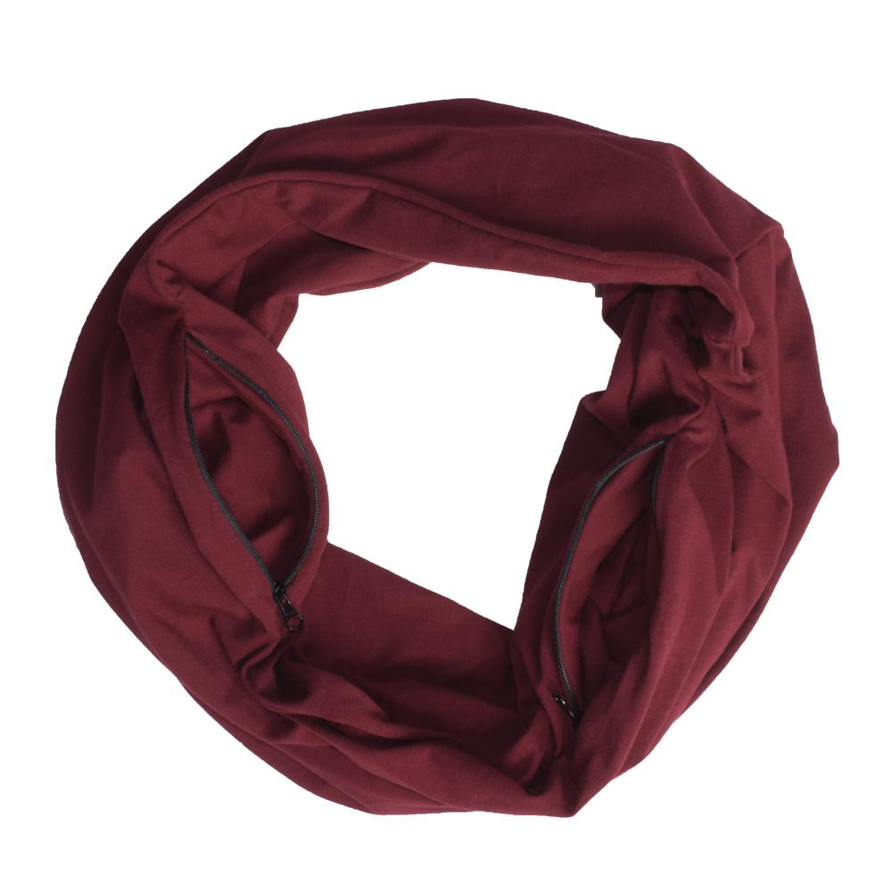 Polo Republica Single Jersey Travel Scarf with Two Secret Hidden Zipper Pockets Men's Accessories Image Burgundy(Single Jersey)