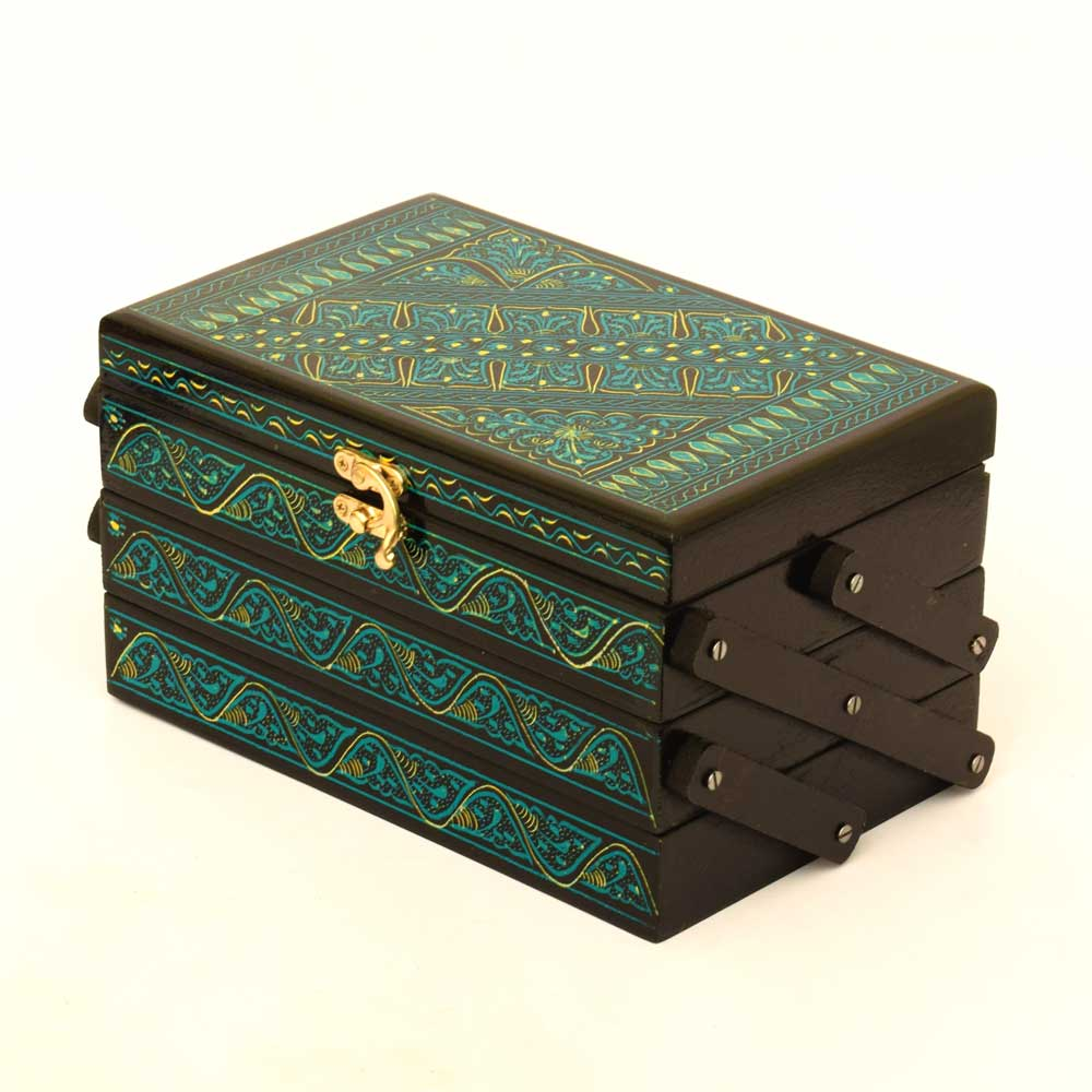 Handmade Lacquer Art Four Drawers Wooden Jewelry Box Jewellery SAK