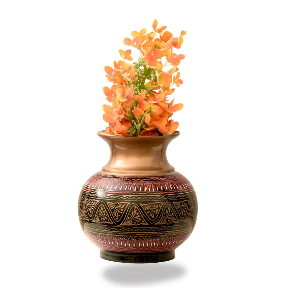 Handcrafted Bequest Lacquer Art Wooden Decorative Large Flower Pot Home Decor SAK