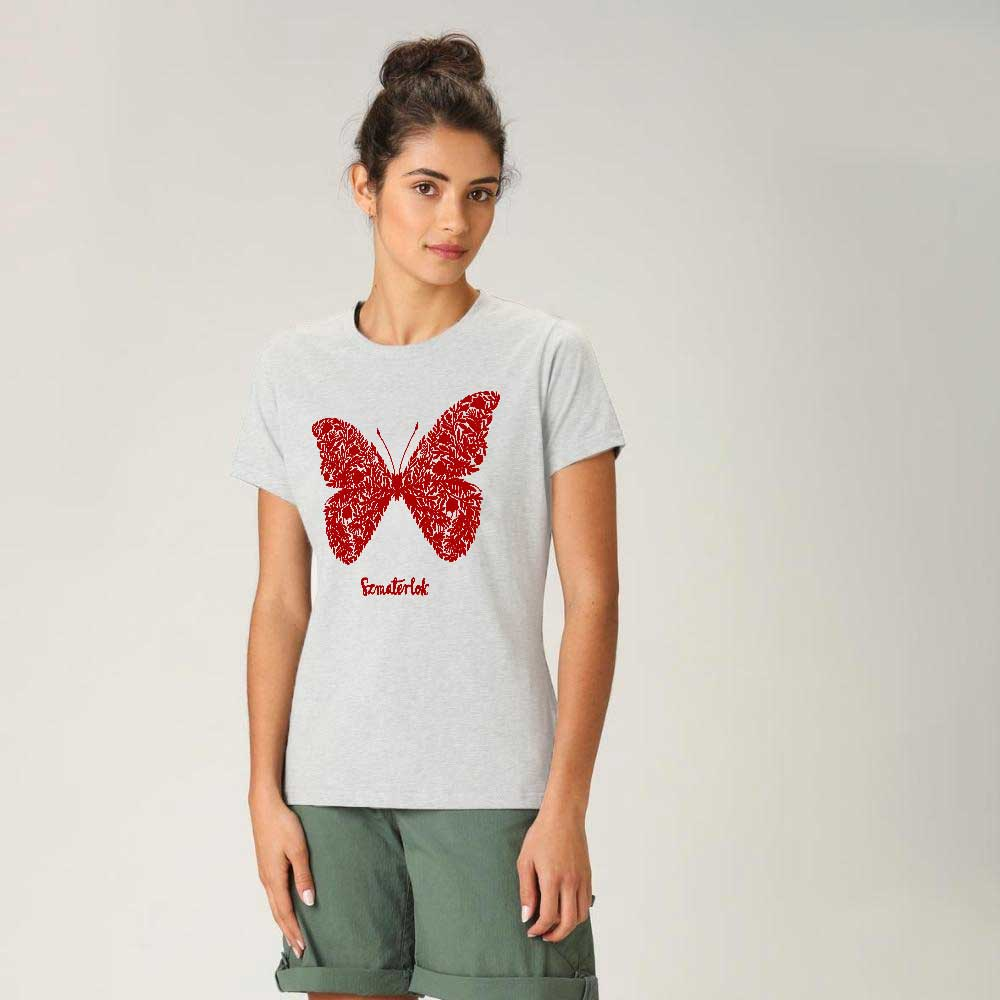Women's Butterfly Crew Neck Tee Shirt Women's Tee Shirt Image White & Red XS