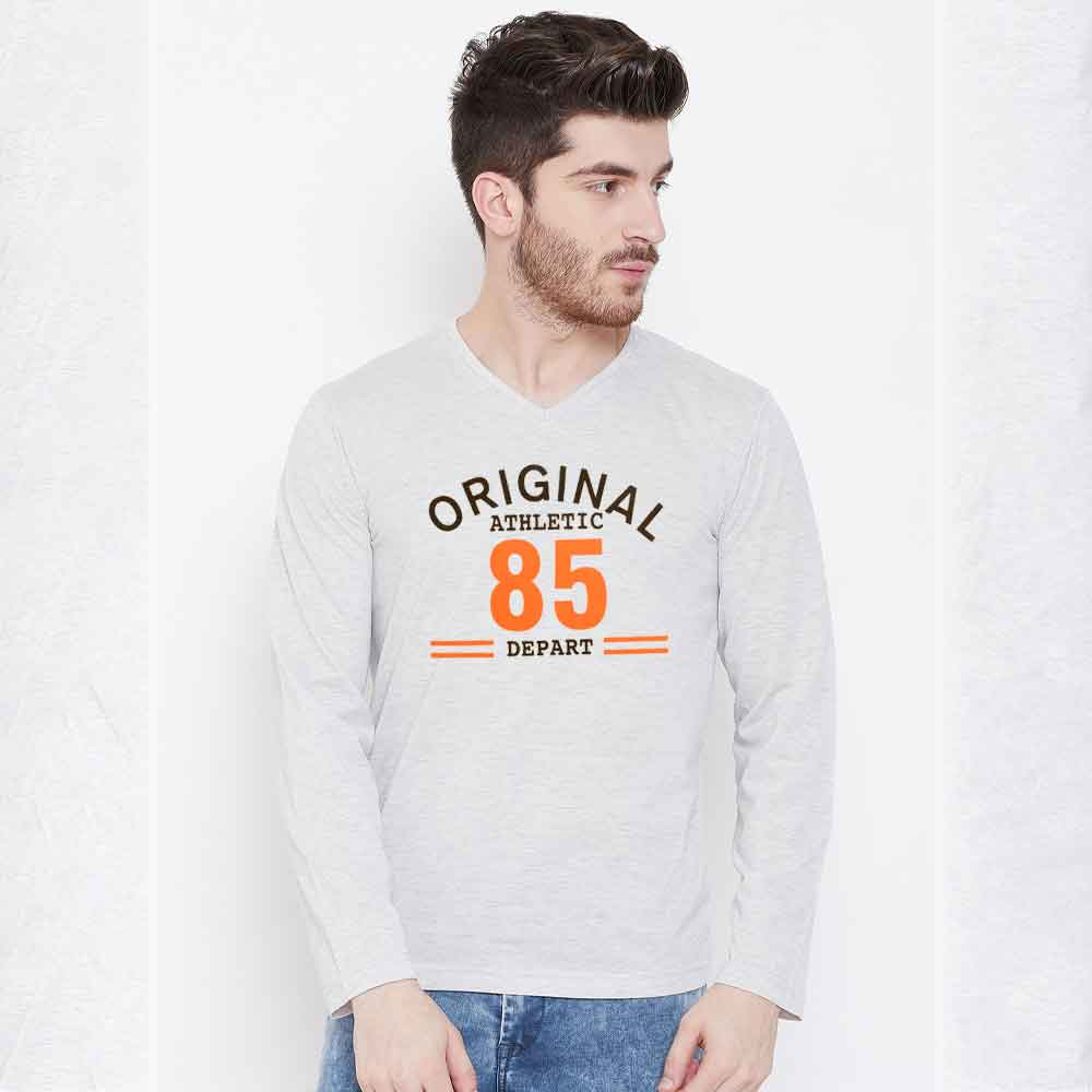 Men's Long Sleeves V-Neck Printed Tee Shirt Athletic Dept Men's Tee Shirt Image Heather Grey S