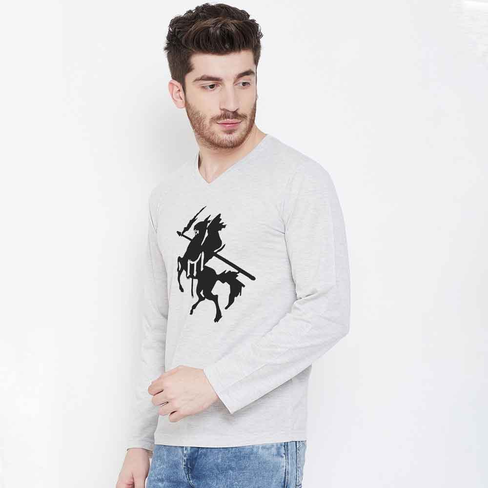 Men's Long Sleeve V-Neck Printed Tee Shirt Knight Men's Tee Shirt Image White S