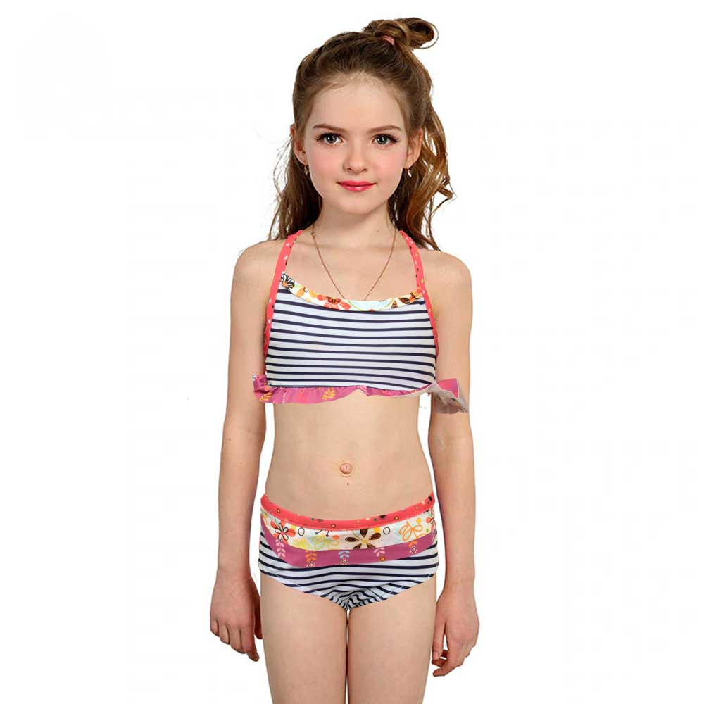 JTP Girl's Nikita Striped Ruffle Tankini Swim Wear Girl's Swimsuit SRK 2T
