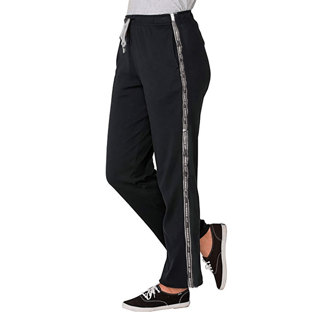 P&W Women's Side Stripe Runner-Up Fleece Trousers Women's Trousers MAJ Black White S