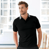 EGL Contrast Collar Short Sleeve Polo Shirt Men's Polo Shirt Image Black Heather Grey XXS