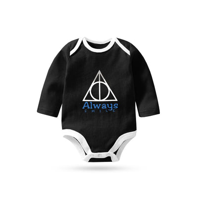 Polo Republica Always Smile Long Sleeve Pique Baby Romper Babywear Polo Republica Black White 0-3 Months