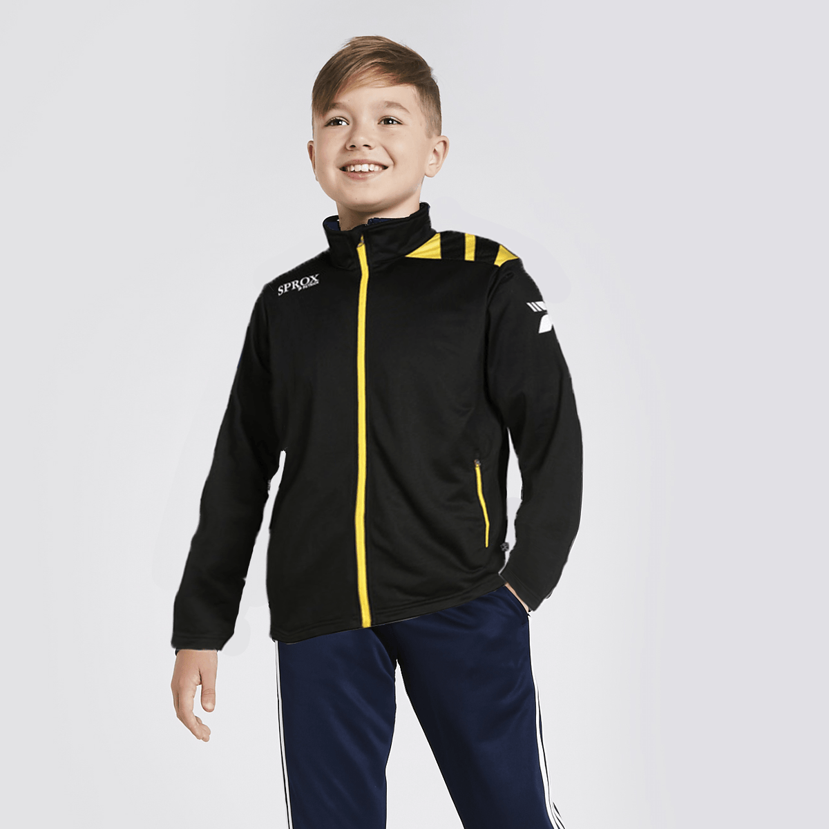 PTRK Boy's Full Zip Sportswears Poly Jacket Boy's Jacket SRK Black Yellow 4XS