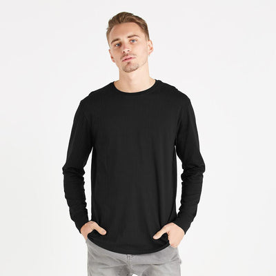 Polo Republica Thermal Lined Long Sleeves Tee Shirt Men's Tee Shirt Polo Republica Black XS