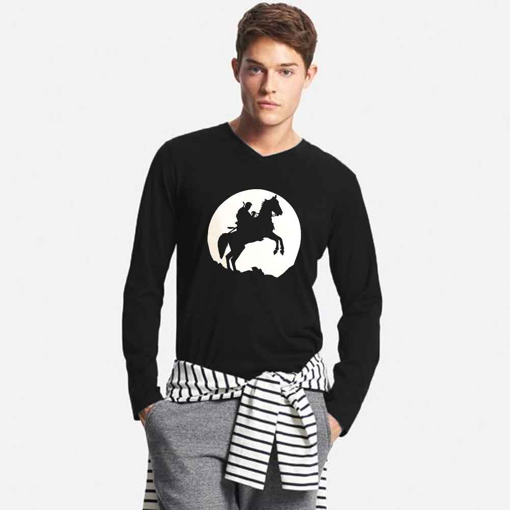 Men's Printed Long Sleeve V-Neck Tee Shirt Ertugrul Brave Knight