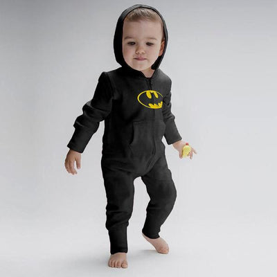 Batman Baby Full Body Romper Babywear Image Black Yellow 6-12 Months