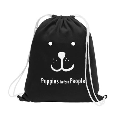 Polo Republica Puppies Before People Drawstring Bag Drawstring Bag Polo Republica Black White