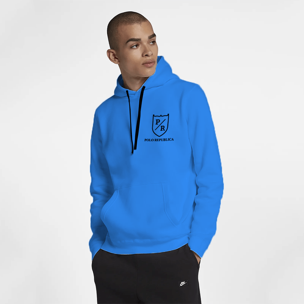Polo Republica Men's Solid Fleece Pullover Hoodie Men's Pullover Hoodie ASE Blue S