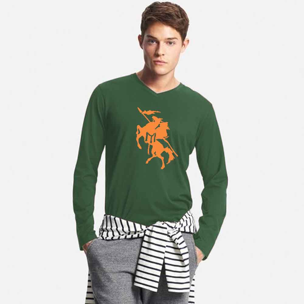 Men's Long Sleeve V-Neck Printed Tee Shirt Knight Men's Tee Shirt Image Bottle Green & Yellow S