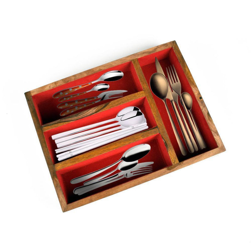 Sinj Solid Wood Cutlery Box With Lid Kitchen Accessories SAK