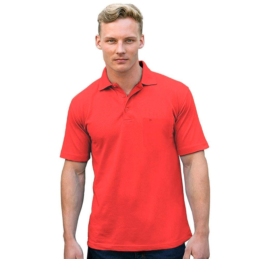 DNY Classic Solid Short Sleeve Polo Shirt Men's Polo Shirt Image Brick Red XS