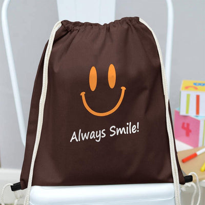 Polo Republica Always Smile Drawstring Bag Drawstring Bag Polo Republica Brown Yellow