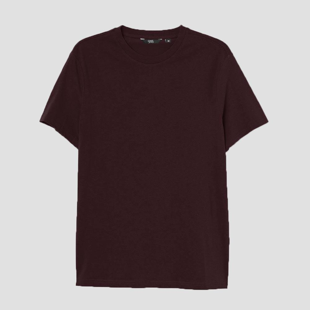SJ Men's Lavish Crew Neck Tee Shirt Men's Tee Shirt Image Burgundy XS