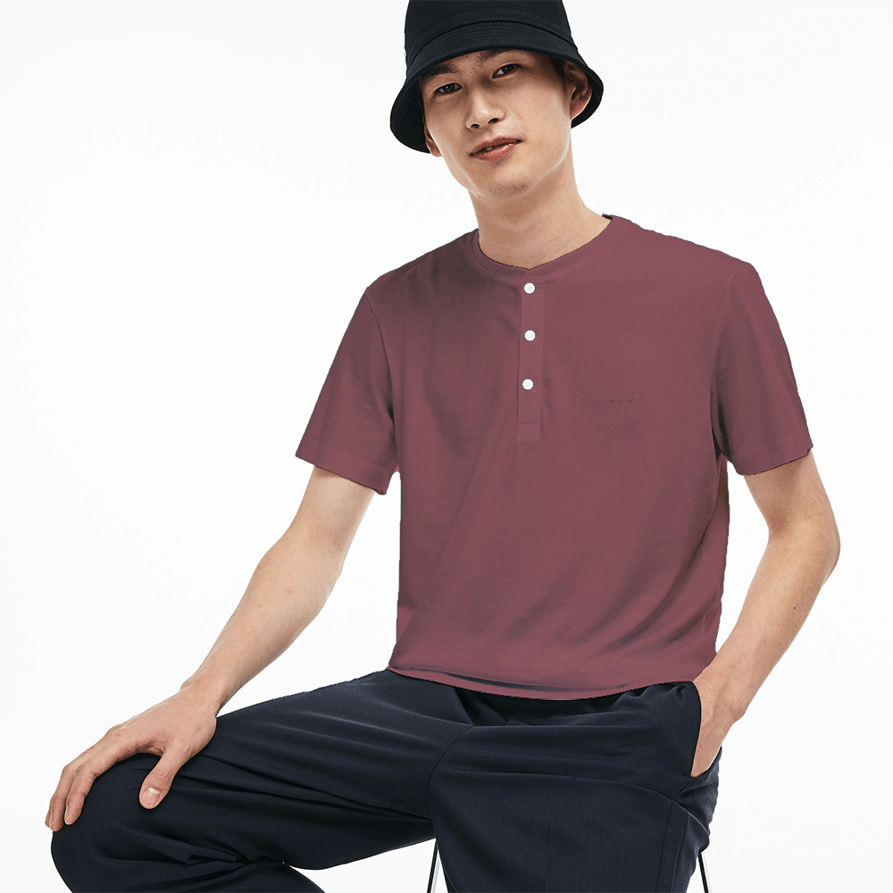 HKB Men's Short Sleeve Henley Tee Shirt Men's Tee Shirt Fiza Burgundy S