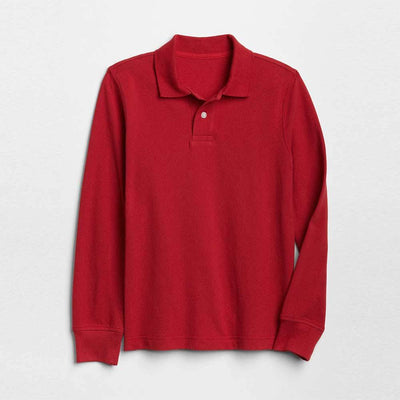 GP Boys Solid Long Sleeve Pique Polo Shirt Boy's Polo Shirt SRK Red 4-5 Years