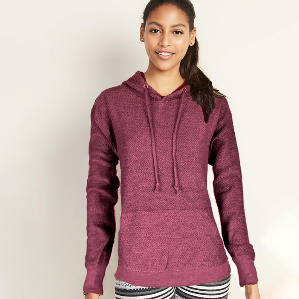 Basix Of America Women's Terry Pullover Hoodie Women's Pullover Hoodie SRK Burgundy S