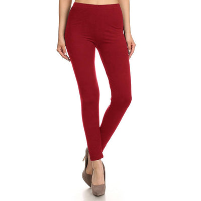 HUD Women's Buttery Soft Solid Leggings Women's Trousers MHJ Red S