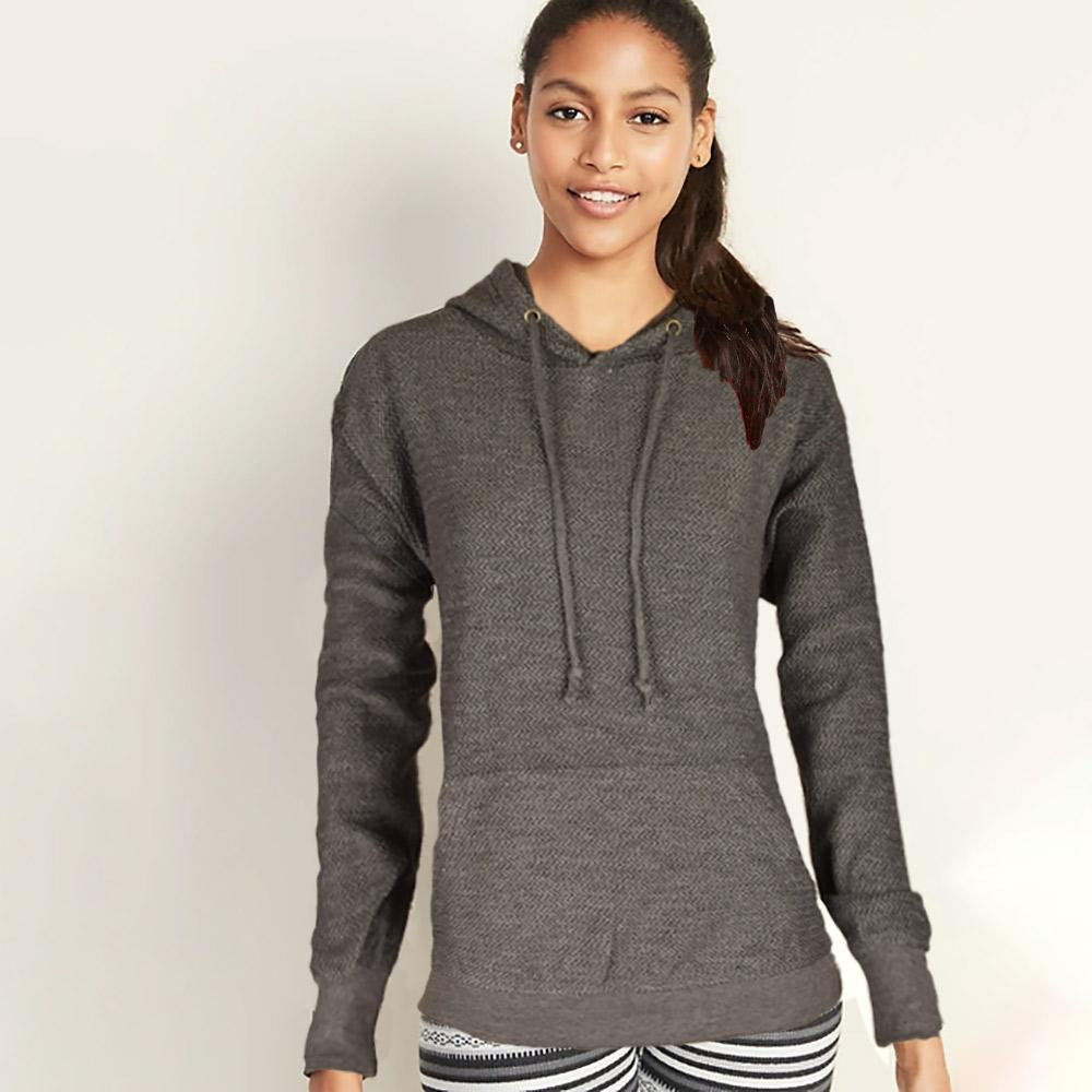Basix Of America Women's Terry Pullover Hoodie Women's Pullover Hoodie SRK Charcoal S