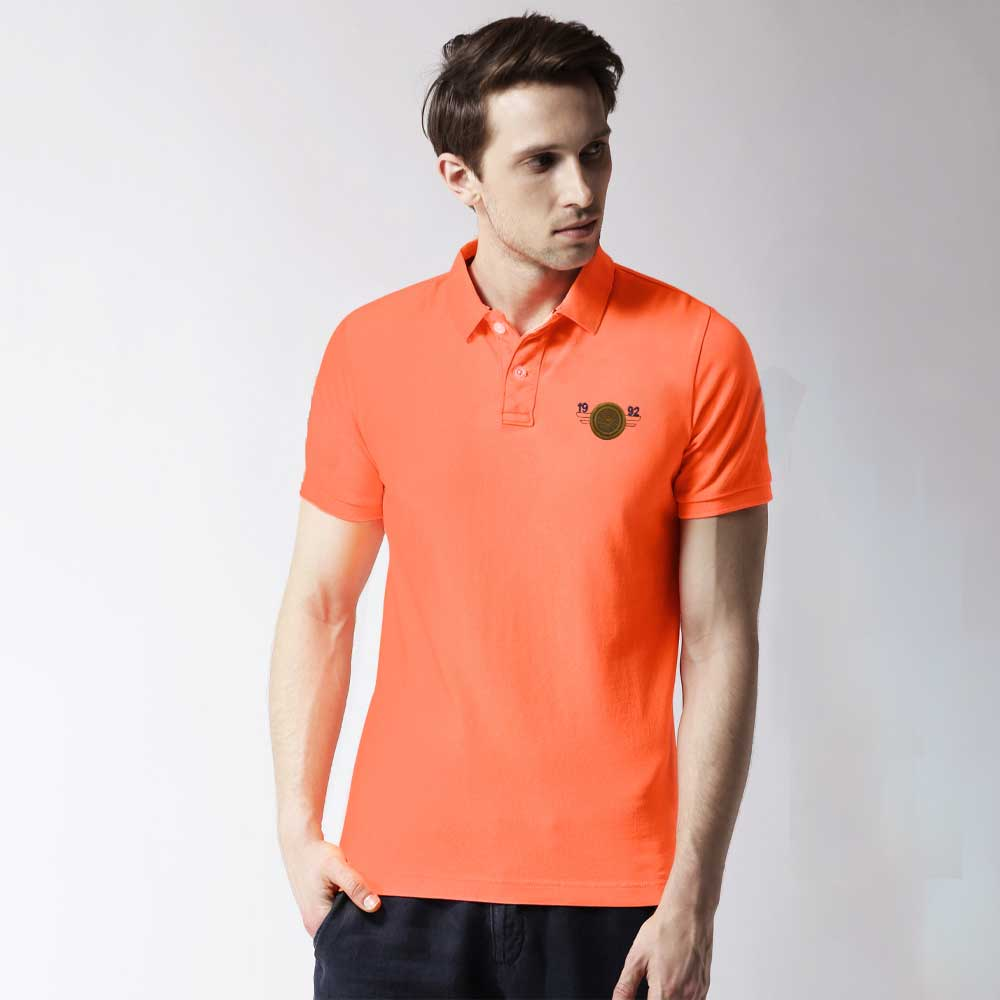 Fit Polo Men's Codicil Short Sleeves Polo Shirt Men's Tee Shirt First Choice Neon Orange & Olive XS
