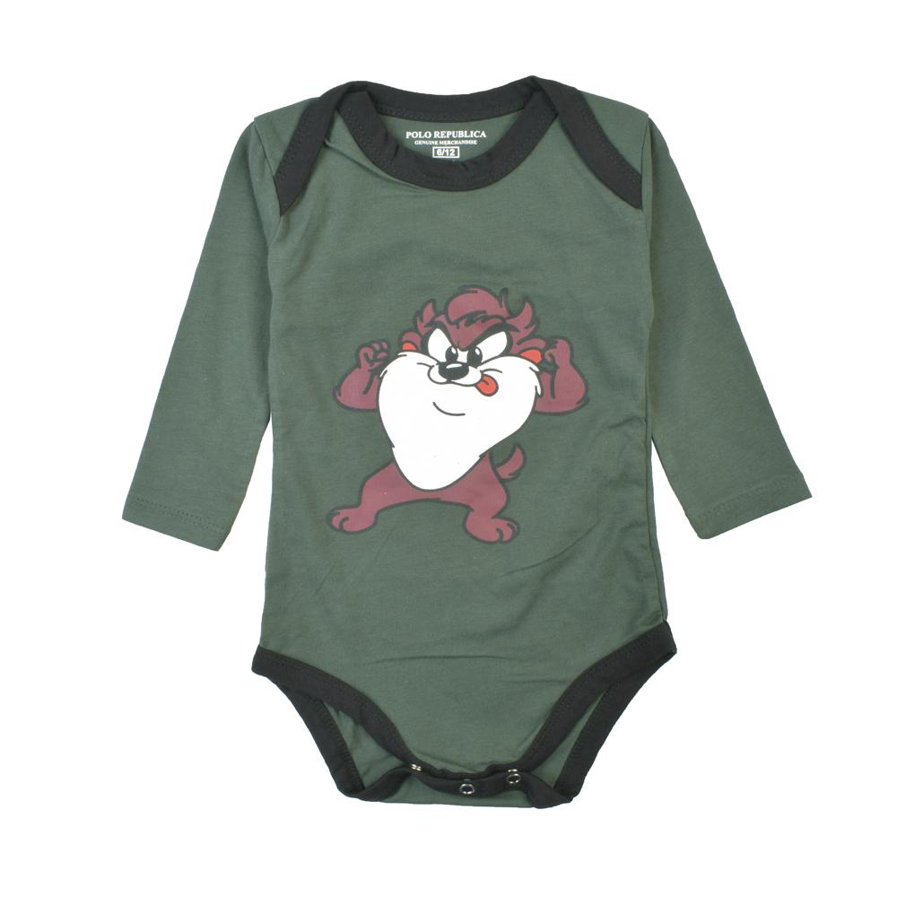 Polo Republica Looney Tunes Long Sleeve Jersey Baby Romper Romper Polo Republica Bottle Green 0-3 Months