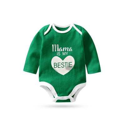 Polo Republica Mama Is My Bestie Pique Baby Romper Babywear Polo Republica Dark Green White 0-3 Months