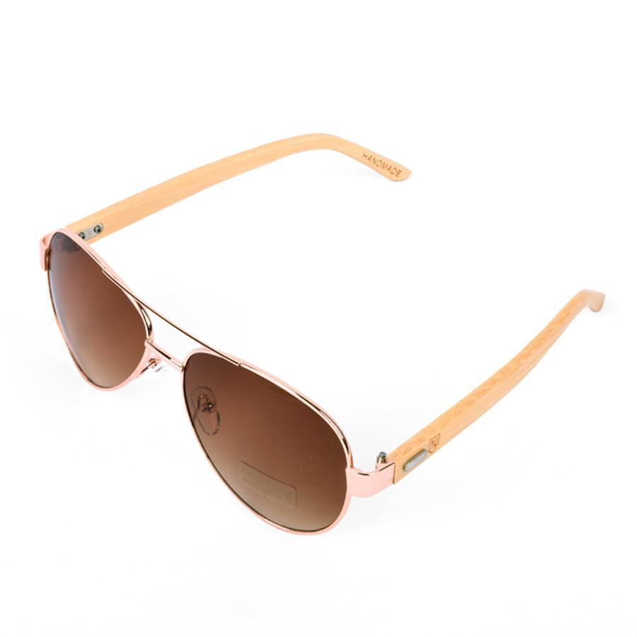 Polo Republica (1034-M2) Gold Laos Aviator Bamboo Temple Sunglasses - ExportLeftovers.com