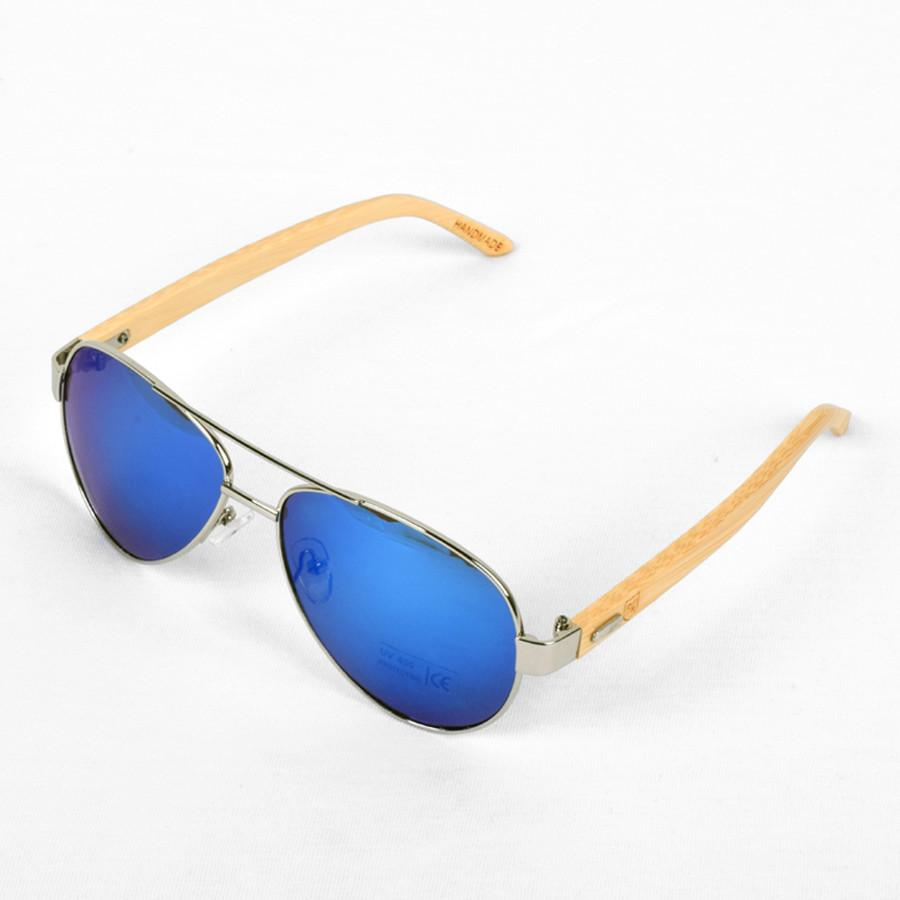 Polo Republica (1034-M4) Silver Frame with Bamboo Arms Ice-Blue Lens Sunglasses - ExportLeftovers.com