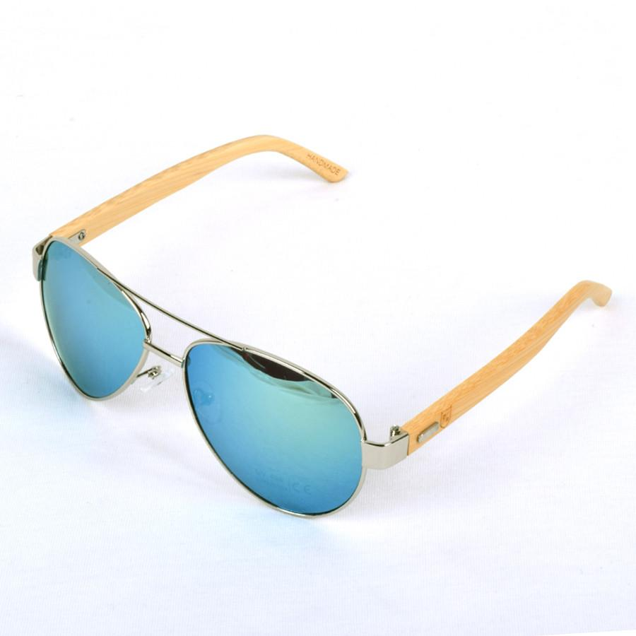Polo Republica (1034-M3) Rocono Aviator Bamboo Temple Sunglasses - ExportLeftovers.com