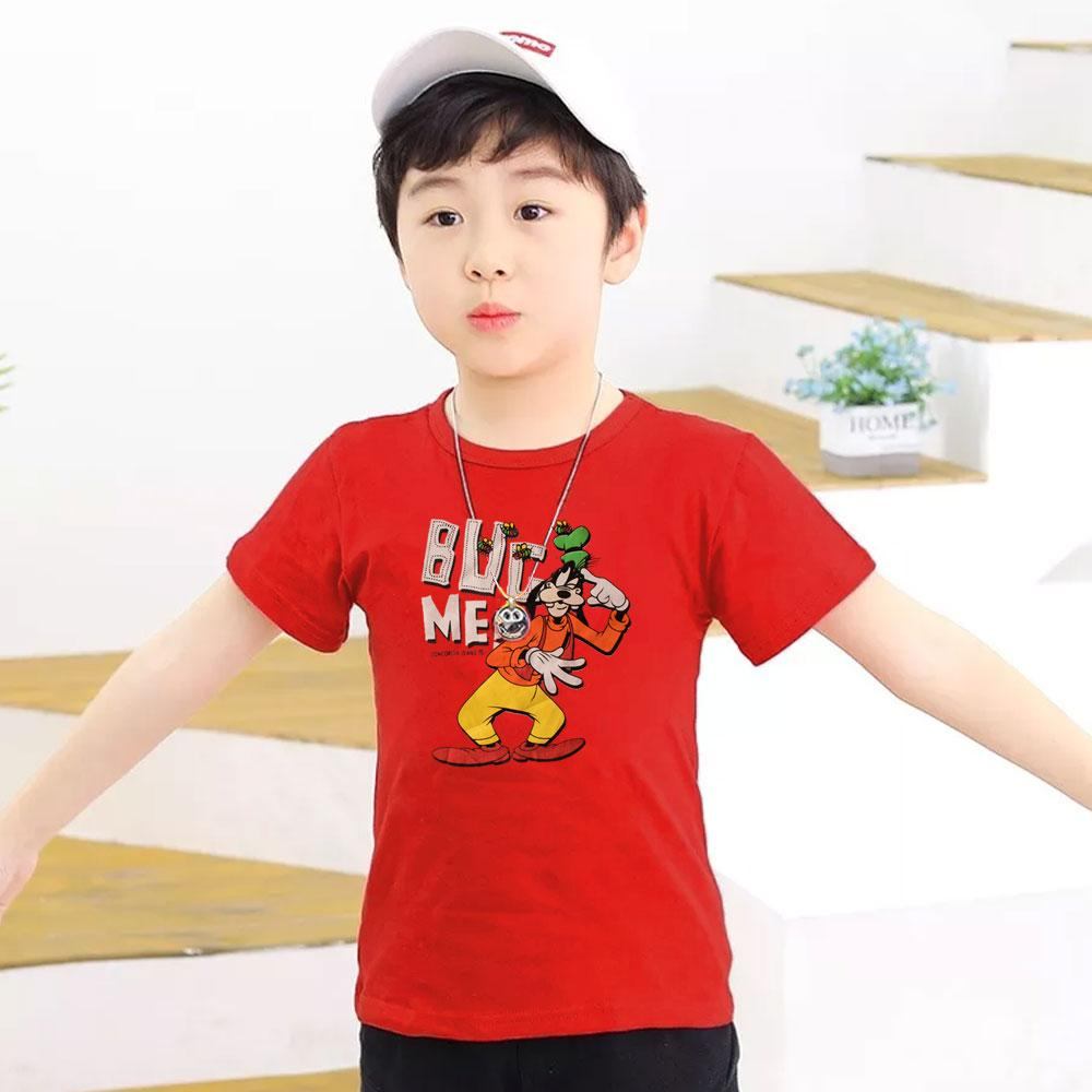 Kid's Classy Printed Tee Shirt Goofy Boy's Tee Shirt SRK Red 9-12 Months