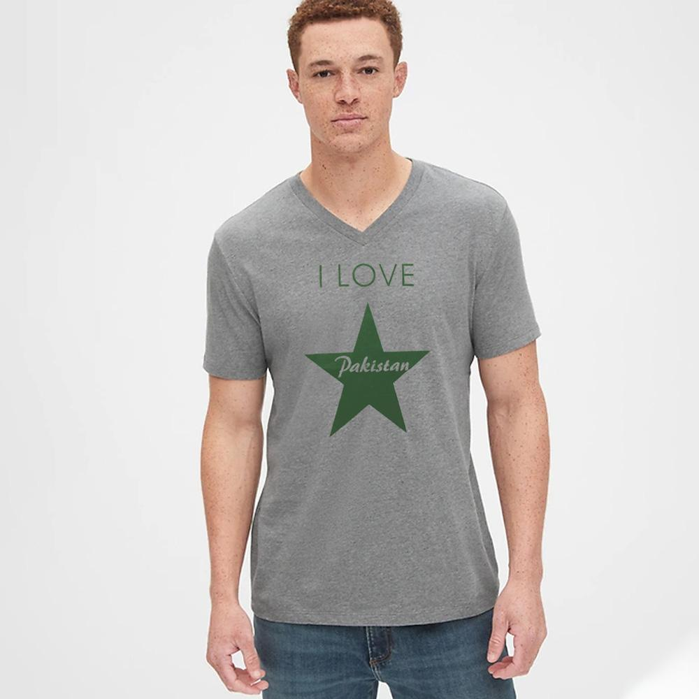 Men's Printed V-Neck Tee Shirt Love Pakistan Men's Tee Shirt Image Heather Grey & Green S