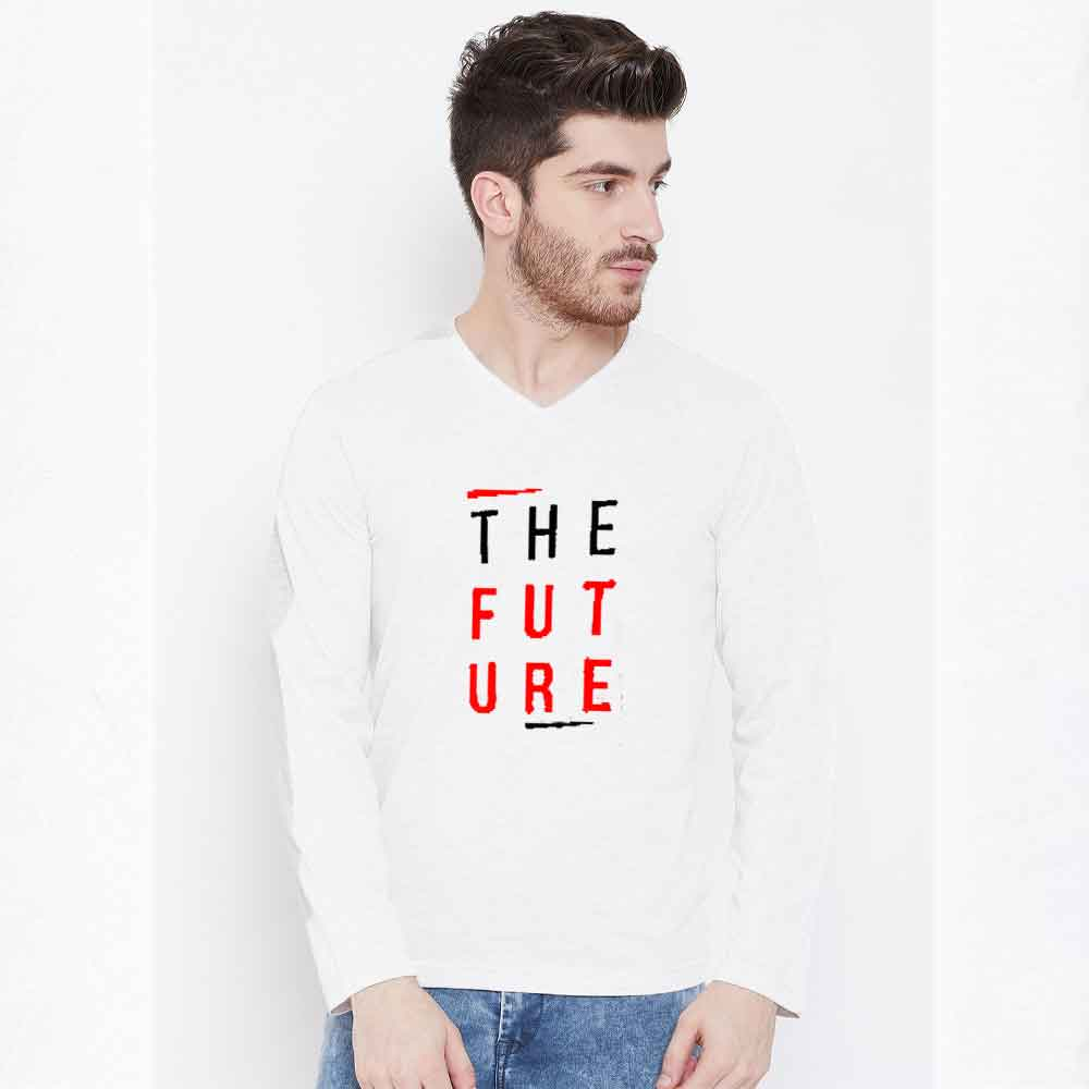 The Future Long Sleeve Crew Neck Tee Shirt Men's Tee Shirt Image White & Red S