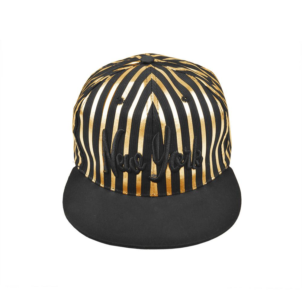 MB New York Baseball Cap Headwear MB Traders Black Golden