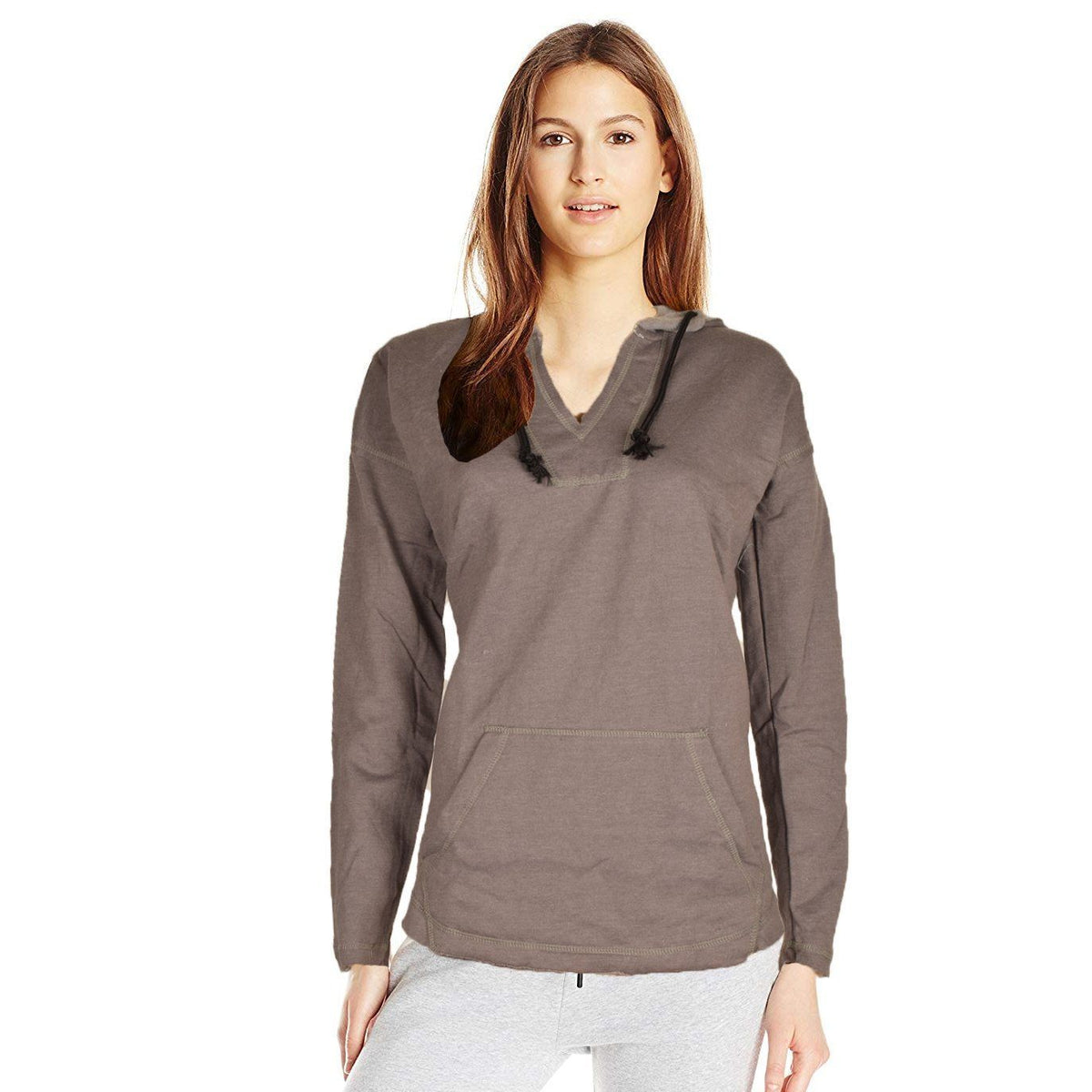 J4W Women's Classic V-Neck Cropped Hoodie Women's Pullover Hoodie SRK Graphite S