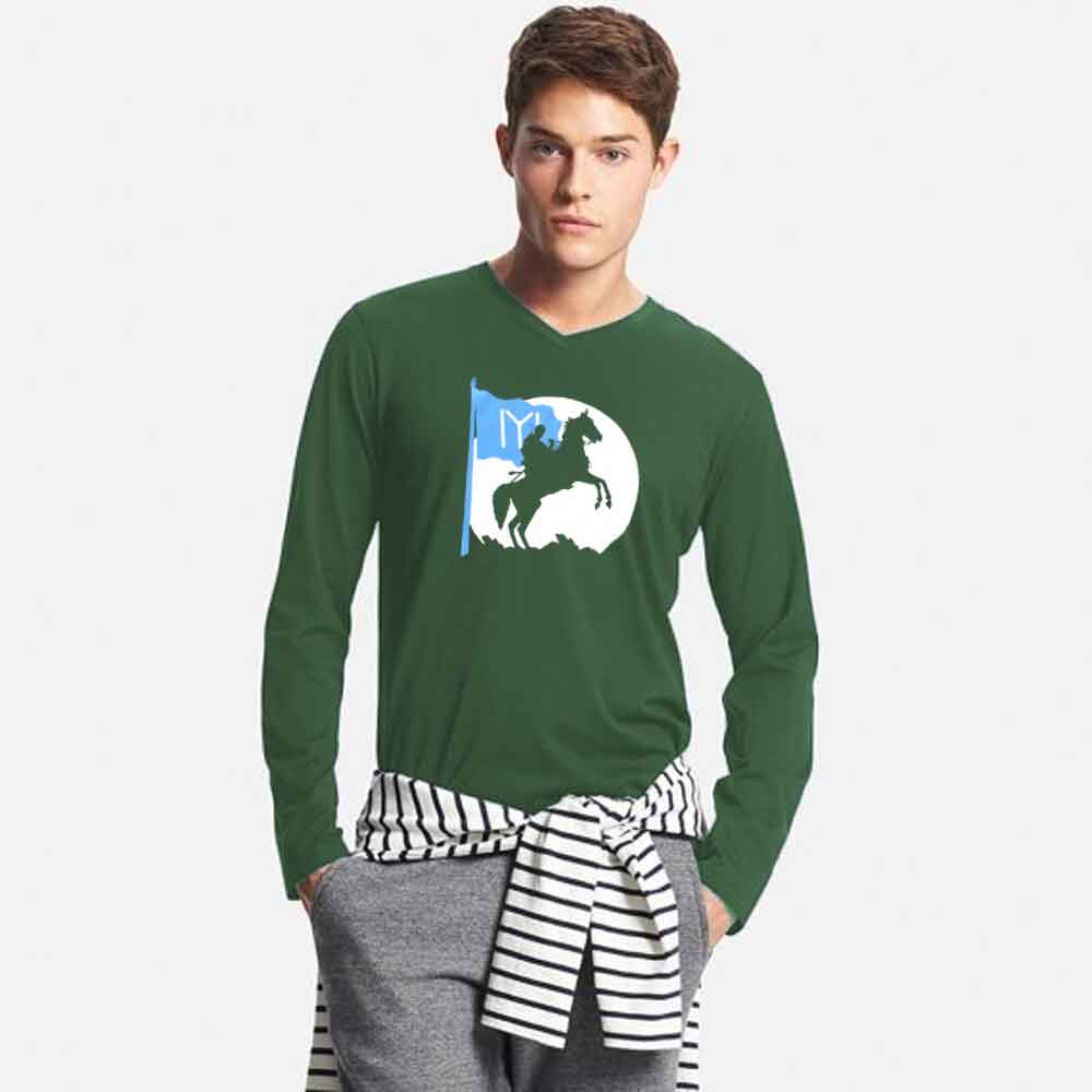 Men's Long Sleeve V-Neck Printed Tee Shirt Ertugrul Dark Horse Men's Tee Shirt Image White & Blue S