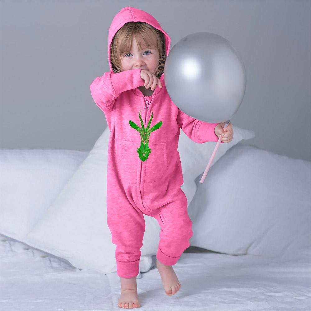 Daring Deer Fleece Full Body Romper Babywear Image Pink Green 6-12 Months
