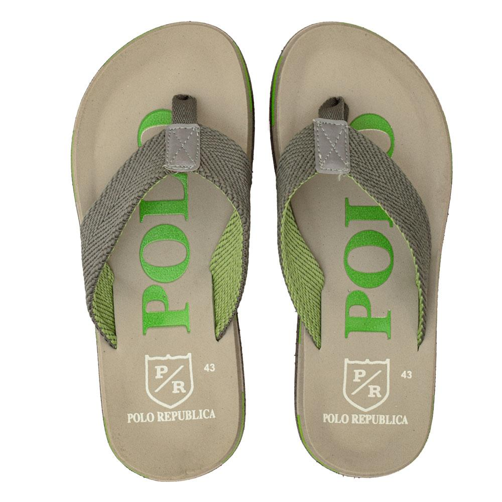Polo Republica Men's Strider Ultra-Light Soft Flip Flops Slippers Men's Shoes Hamza Traders Light Grey & Parrot EUR 40