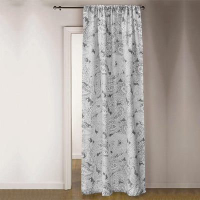 TMH Brentwood Printed One Piece Pocket Curtain Curtain MB Traders Grey W-50 x L-84 Inches