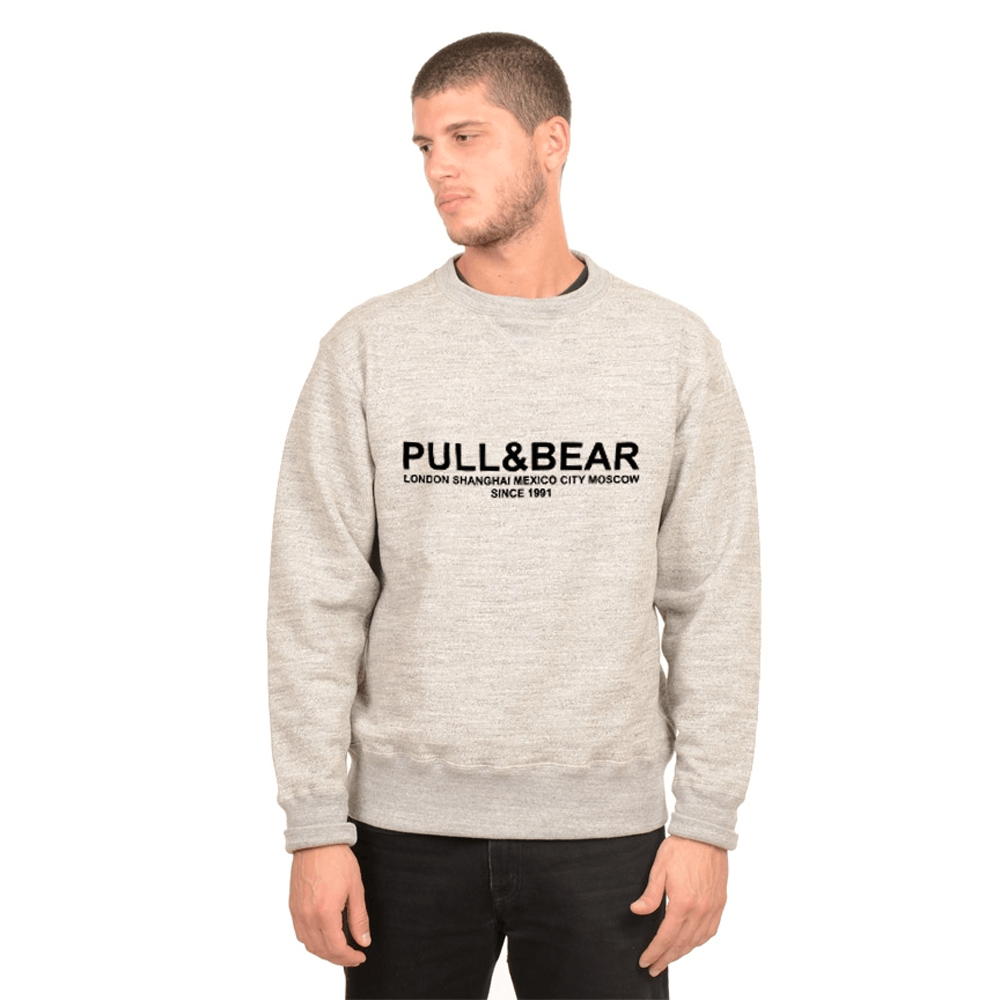 Pull&Bear Men's London to Moscow Printed SweatShirt Men's Sweat Shirt First Choice Heather Grey XS