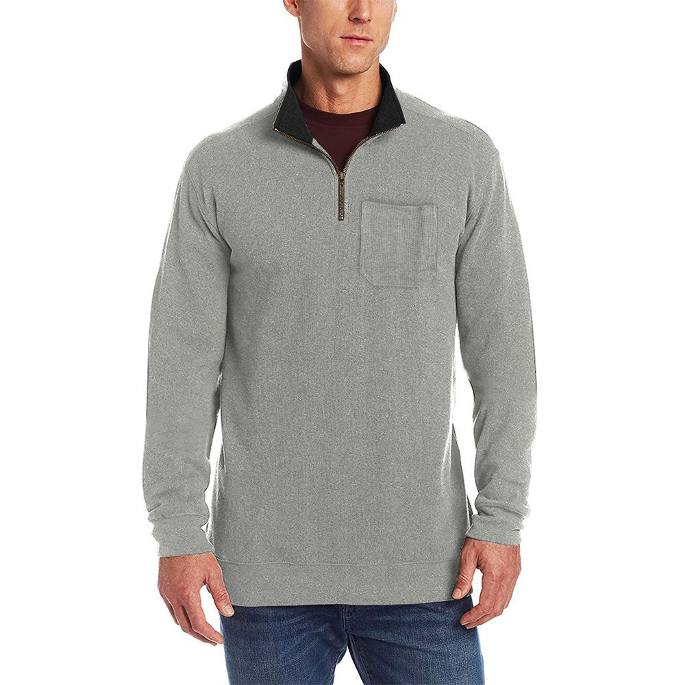 Novita Men's Quarter Zipper Neck Sweat Shirt Men's Sweat Shirt AGZ Heather Grey S