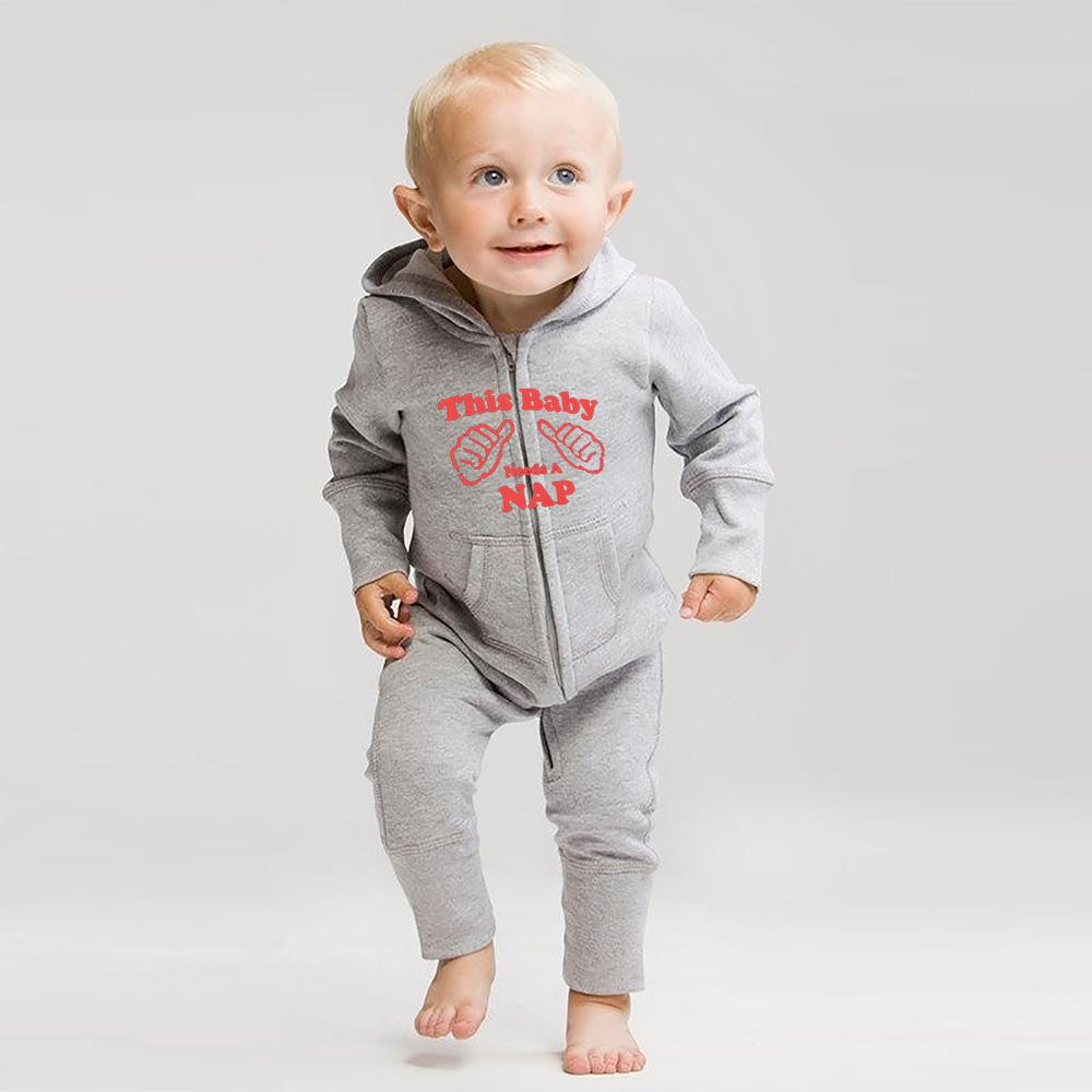 This Baby Needs A Nap Full Body Romper Babywear Image Heather Grey Red 6-12 Months