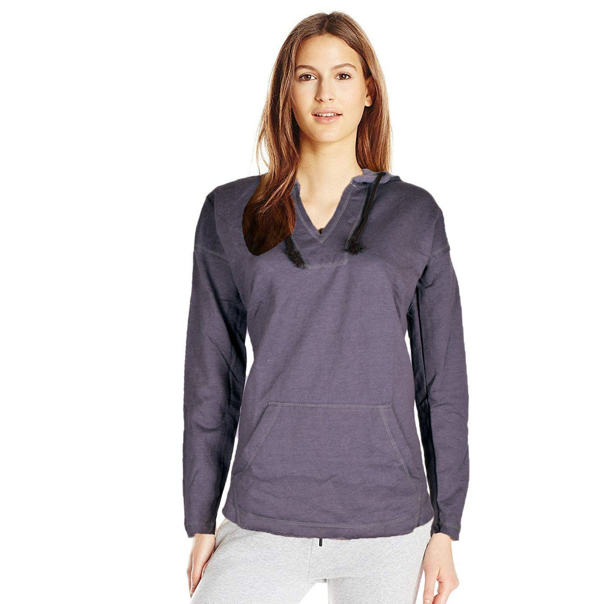J4W Women's Classic V-Neck Cropped Hoodie Women's Pullover Hoodie SRK Jeans Marl S