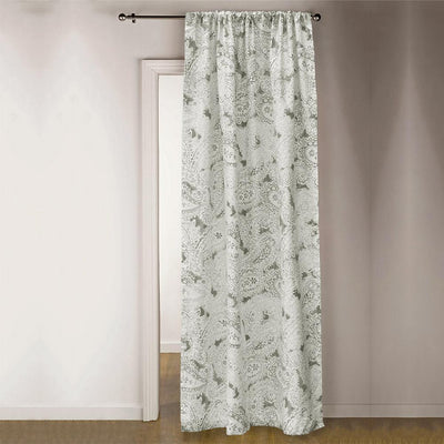 TMH Brentwood Printed One Piece Pocket Curtain Curtain MB Traders Light Grey W-50 x L-84 Inches