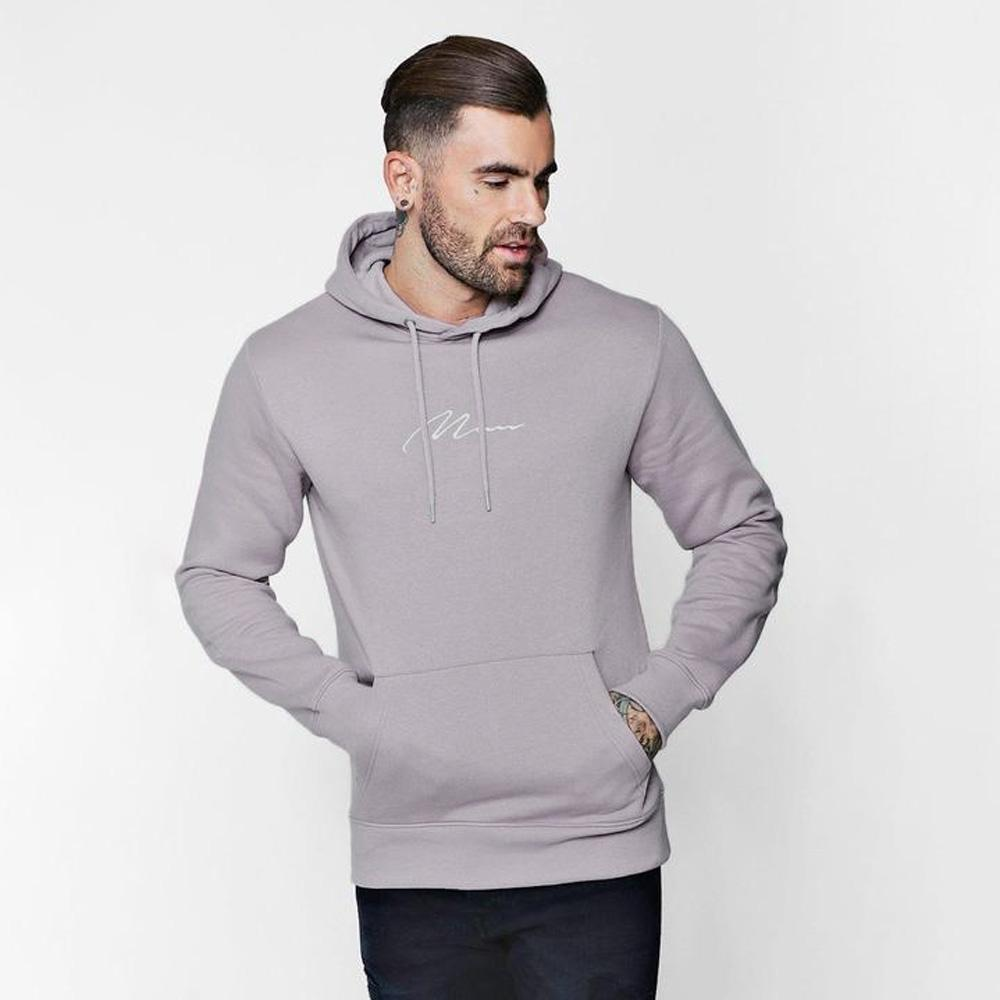 BHM Men's Man Signature Embroidered Hoodie Men's Pullover Hoodie SRK Light Grey S