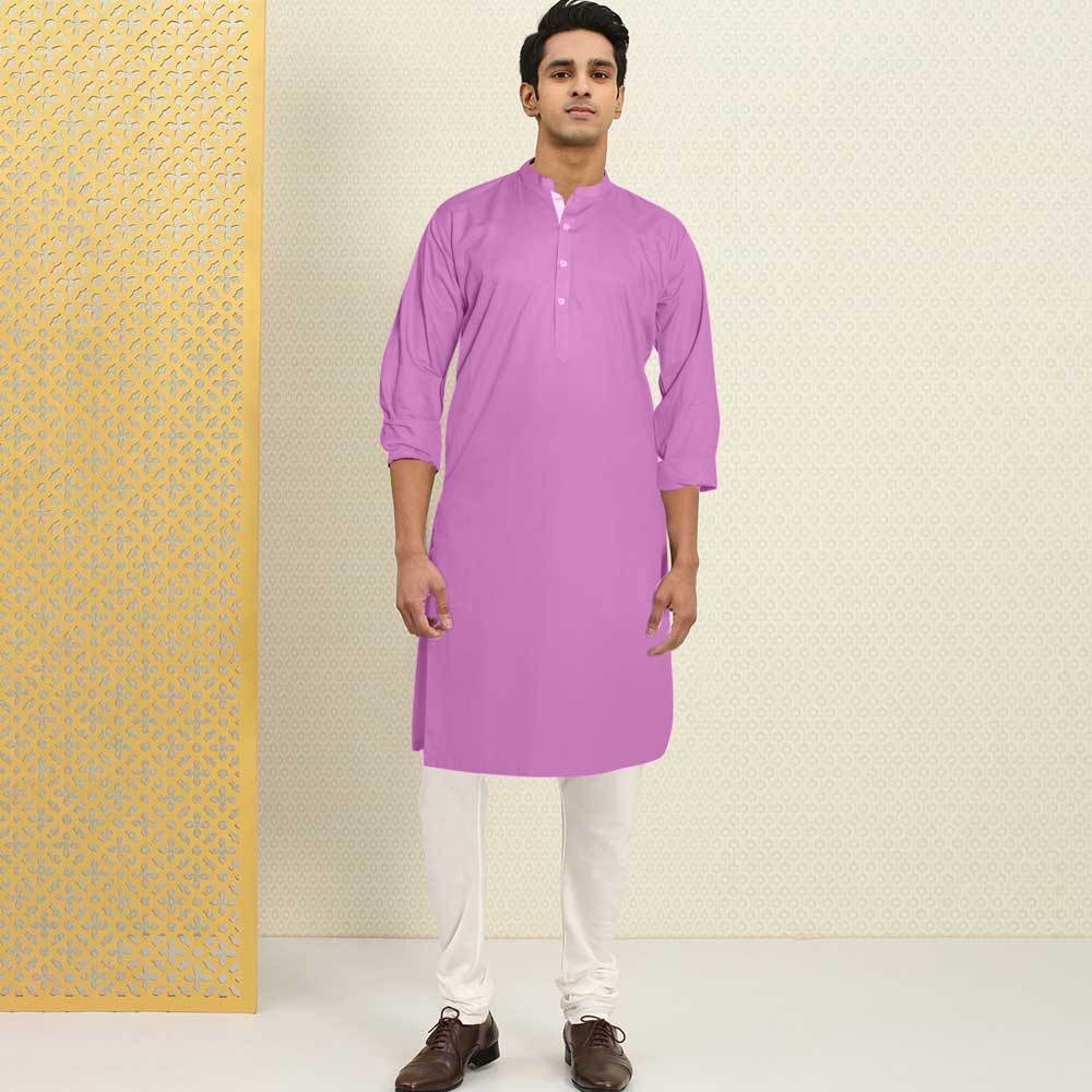 Polo Republica Men's Isfahan Stitched Kurta Men's Kurta RDS Light Purple S