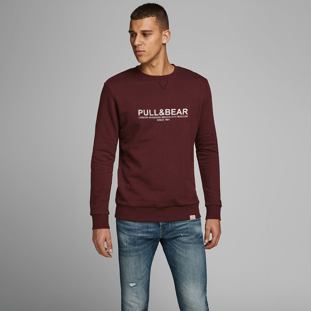 Pull&Bear Men's London to Moscow Printed SweatShirt Men's Sweat Shirt First Choice Maroon S