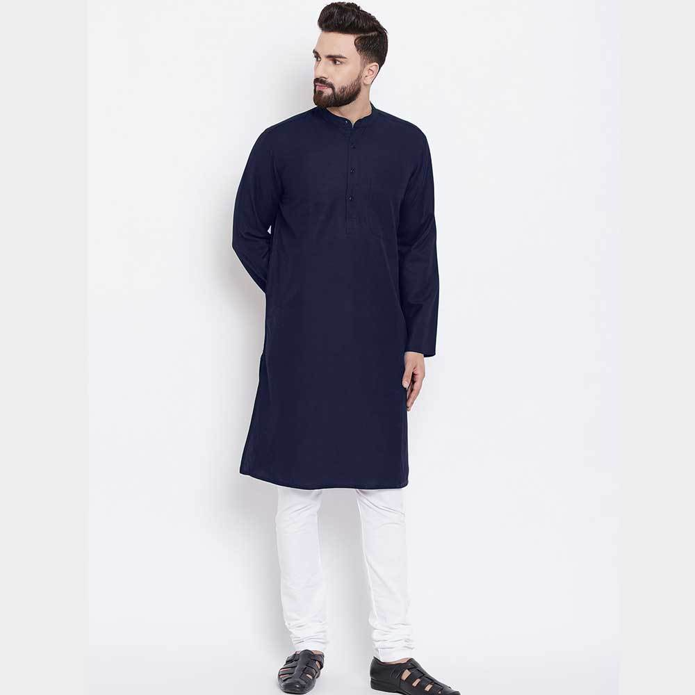 Men's Classic Pique Stitched Kurta Men's Kurta NMA Navy S